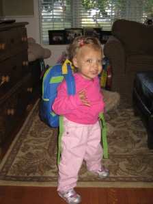Paigers on her very first day of school - September, 2010 (20 months old)